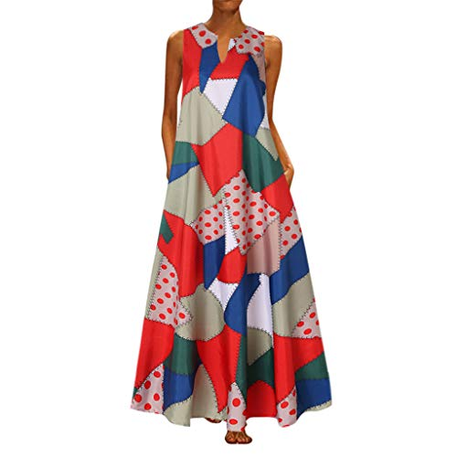 Review Of Women Plus Size Vintage Print Daily Casual Sleeveless Bohemian V Neck Maxi Dress (Size:XL,...