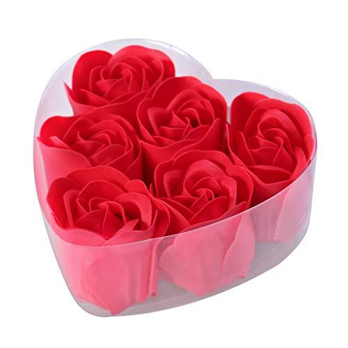 Frcolor Rose savon de bain avec boite en coeur bain corps savon pétales de rose cadeau pour mariage saint valentin anniversaire rouge