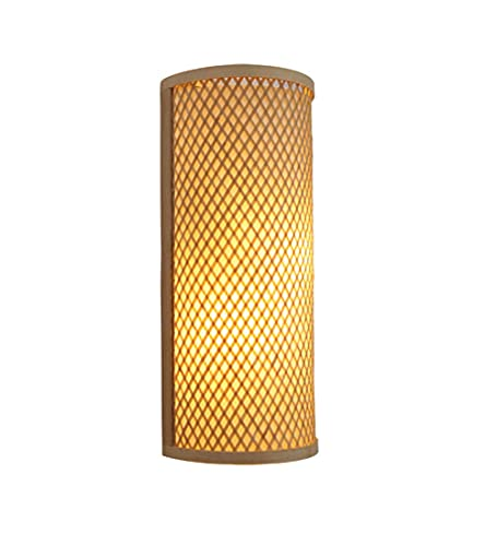 STZYY Lámpara de Pared de Madera de bambú Tejida a Mano, Retro nostálgico Interior 2 Luces de Pared de Llama, lámpara de Noche para Dormitorio, decoración Creativa iluminación de Pared para Sala d