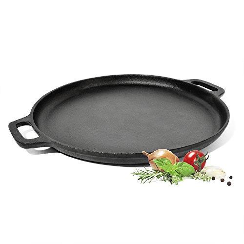 ToCis Big BBQ Comal Grillplatte Gusseisen mit Griffen, Ø 35 cm, runde Brat- und Grillpfanne, voreingebrannt