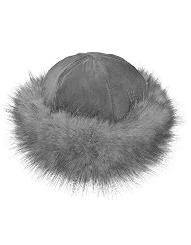 TEXTURE TEXTURE Ladies Women Lagenlook Faux Fur Band Suede Effect Mongolian Russian Winter Hat Gift (Grey)