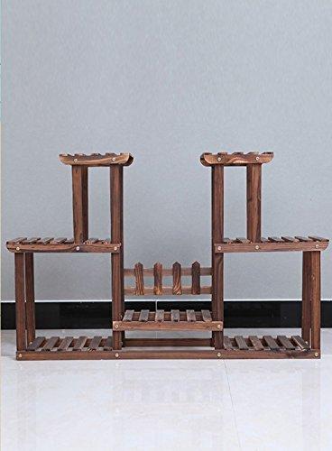 & Pot rack Support de fleur en bois massif Multi-couche Stand de fleur Balcon Intérieur Salon Plante Symétrie Pots à fleurs décoratifs (Color : A, Size : 105 * 25 * 71cm)