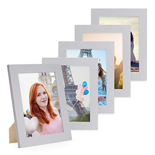 Photolini Juego de 5 Marcos 15x20 cm Basic Collection Modernos, Plateados de MDF, Incluyendo Accesorios/Collage de...