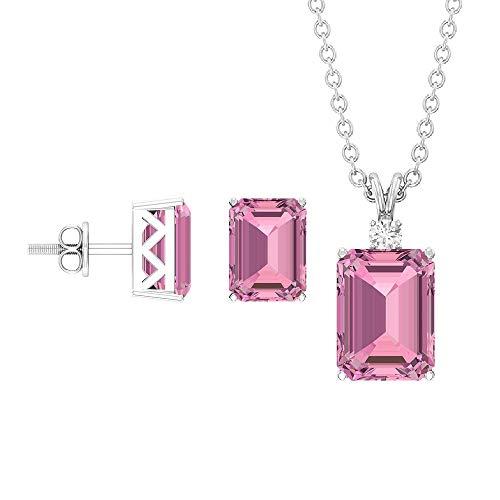 Rosec Jewels 18 quilates oro blanco redonda Octagone Pink Diamond Tourmaline