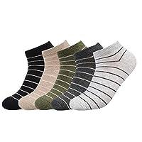 メンズ スポーツソックス 綿 四季適用 防臭 23-27cm 5足セット (線の紋様 マルチカラー)