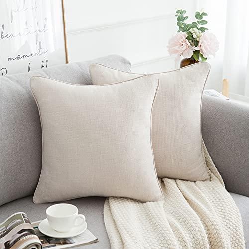 HomeStilez 2 Fundas Cojines Decorativos para Sofa Exterior Lino Funda de Almohada Cuadrado Decoración para Hogar 45x45cm Elegantes Vintage Avena