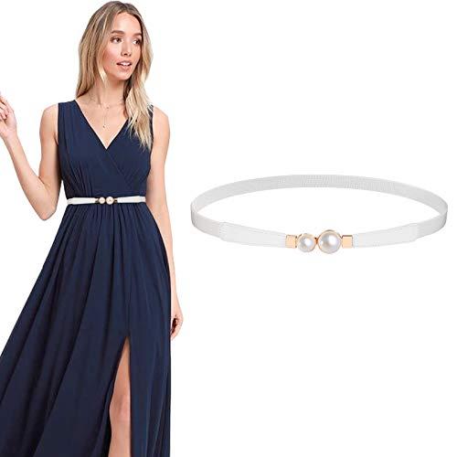 JASGOOD Double Pearls Buckle Waist Belt, Women Retro Elastic Skinny Belt for Dress