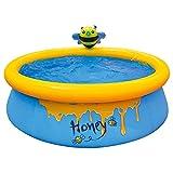DHTOMC Piscina inflable de la abeja de la piscina, patio trasero espesa la piscina redonda para los niños y los adultos PVC espacioso acolchado piscina para el jardín