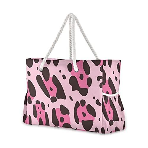 Grandes bolsas de playa Totes de lona Bolsa de hombro Sexy Leopard Print Resistente al agua Bolsas para gimnasio Viajes Diario 37