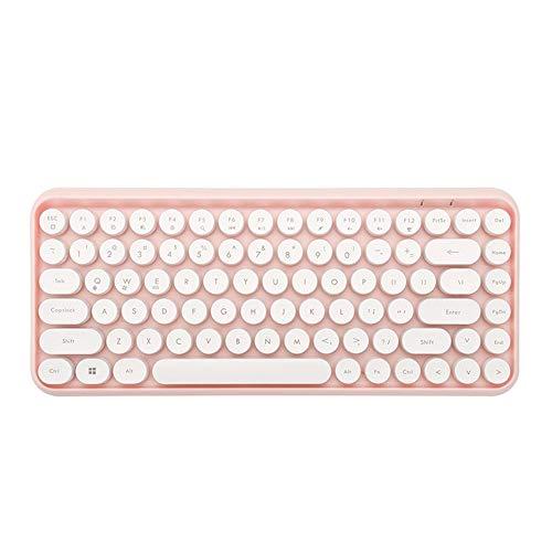 LaLa POP Tableta de Teclado Bluetooth Tablet Tabletop Office Boys and Girls Punk Teclado (Color : Pink)