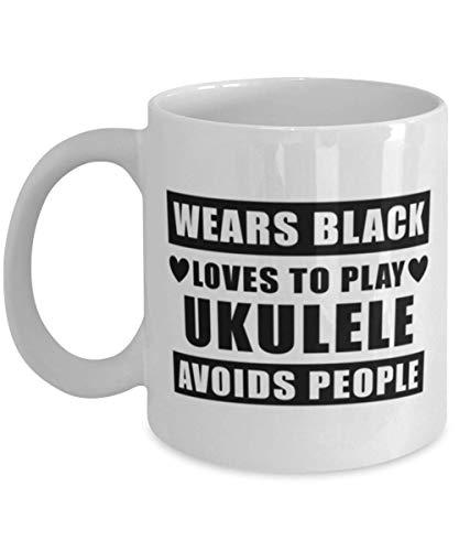 Taza divertida para reproductor de armónica - Viste de negro para evitar a las personas - Taza de café de 11 oz para fanáticos de la música, amantes, amigos, compañeros de trabajo, hombres, mujeres