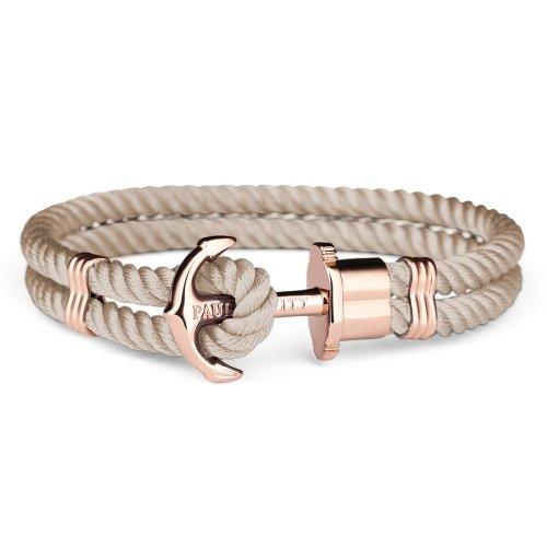 PAUL HEWITT Anker Armband Damen PHREP - Segeltau Armband Frauen (Braun), Armband Damen mit Anker Schmuck aus IP-Edelstahl (Rosegold)
