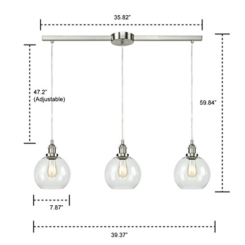 EUL Industrial Vintage Kitchen Island Lighting Clear Glass Globe Pendant Brushed Nickel -3 Lights Connecticut