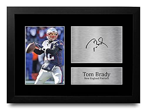HWC Trading Ontworpen Gift Tom Brady Handtekeningen A4 Printed American Football New England Patriots Gifts Photo…