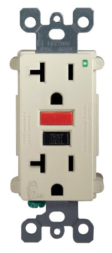 Leviton 7899-RI 20-Amp-125-Volt SmartLock Pro GFCI Receptacle, Feed-Through with Red and Black Buttons, Ivory
