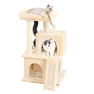 PAWZ Road Cat Tree Luxury Cat Tower with Double Condos, Spacious Perch, Fully Wrapped Scratching Sisal Post and Replaceable Dangling Balls Gray from PAWZ Road