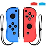 Joycon Replacement for Nintendo Switch Joy Con Controller, Kinvoca Wireless L/R Joy Pad, Alternatives for Nintendo Switch Controllers, Including Wrist Strap and Joystick Cap - Red and Blue