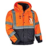 High Visibility Reflective Winter Bomber Jacket, Black Bottom, Zip Out Fleece Liner, ANSI Compliant, Ergodyne GloWear 8381,Orange,X-Large
