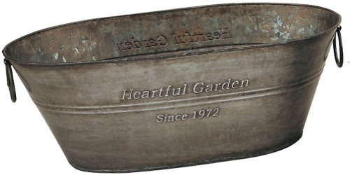 GREEN HOUSE Heartful Garden Oval Basket アンティーク風ブリキポット 42.5×22×13.5cm 2364-A