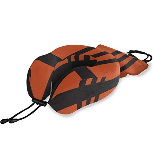 RYUIFI Boys Travel Pillow Cool Sports Orange Basketball Memory Foam Neck & Head Support Print Travel Pillow for Flight Travel Office Best Gift