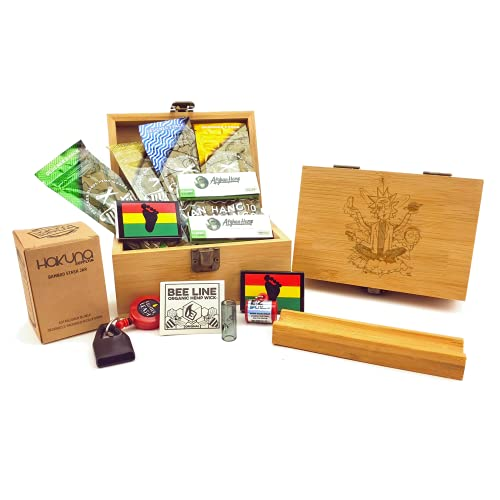 Hakuna Supply - Stoner Stash Box - Bamboo Stash Box with Accessories - Storage Box (R & M)