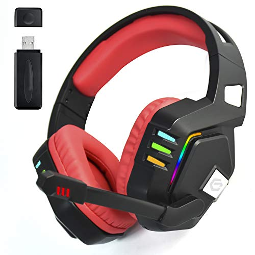 Wireless Gaming Headset PS 4 and PS 5, Wireless Gaming Headset pc 7.1/Vibration Feedback Game Scene/7 Colored Lights / 2.4GHz New Technology/for PS3, PS4, PS5 (Xbox not Supported)