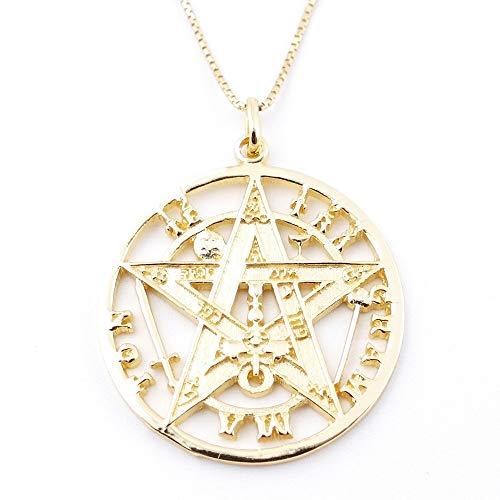 ARITZI - Collar Delicado de Plata de Ley 925 con medallón de Tetragrammaton en Color Oro - Incluye Cadena Box Chain de 45 cm en Plata - 28 mm