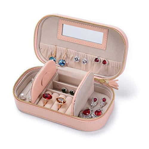 Recet Joyero de madera de microfibra suave de 2 capas con efecto espejo de capacidad y cierre de espejo para pulseras, pendientes (rosa)
