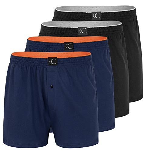 CC Clark Crown Herren Boxershort Loose fit Boxer im 4er Pack, 100% Baumwolle, Marineblau/Schwarz, Grösse XL