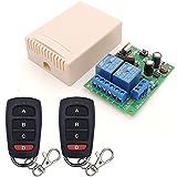 Interruptor de mando a distancia AC 220 V 230 V 2 CH Smart 433 MHz RF receptor de relé inalámbrico y 2 transmisores con 4 botones para puerta de garaje, motor, luz, interruptor de bricolaje