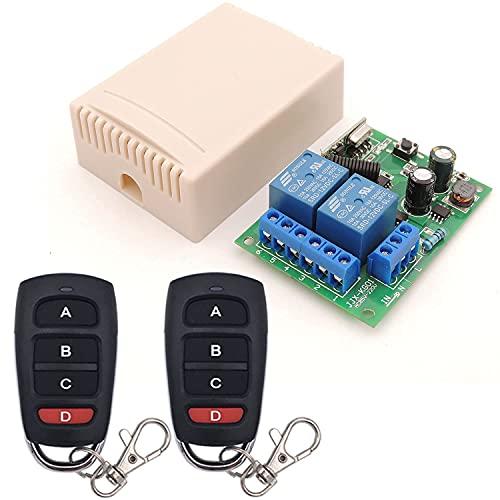 Interrupteur de télécommande AC 220V 230V 2 CH Smart 433Mhz RF récepteur de Relais sans Fil et 2 émetteurs avec 4 Boutons, pour Porte de Garage, Moteur, lumière, Interrupteur de Bricolage