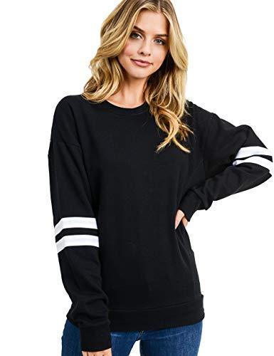 esstive Women's Ultra Soft Fleece Lightweight Casual Stripe on Sleeves Varsity Solid Sweatshirt, Black, Small