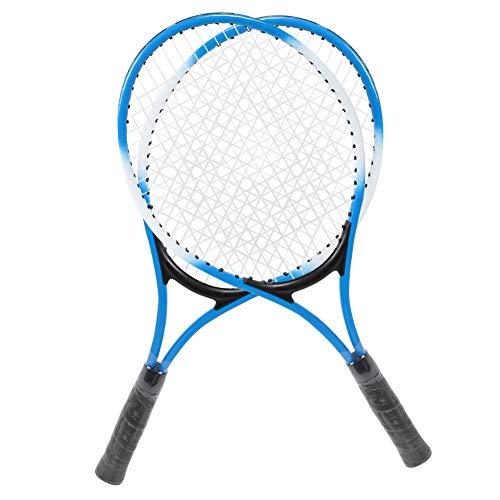 Qqmora Raqueta de tenis para niños, raqueta de tenis para principiantes, de larga duración, buena estabilidad y flexibilidad, resistente, con 2 raquetas de tenis para niños para jardín (azul)