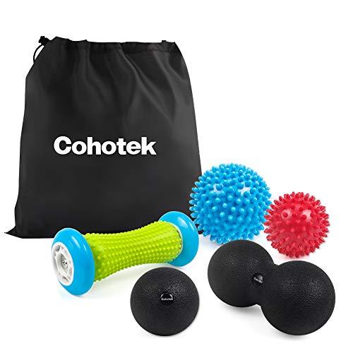 Cohotek Balle de Massage 5 en 1, 2PCS Balle à Picots, Balle de Lacrosse Lisse, Balle en Cacahuète, Rouleau de Massage, Boule en Mousse d'Automassage pour Muscle, Main, Dos, Pieds, Yoga