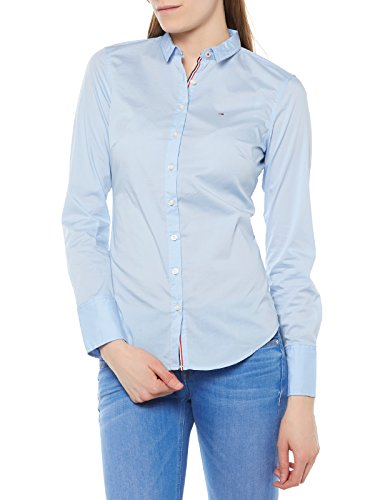 Tommy Hilfiger Basic Stretch camisa, Azul (Chambray Blue), Large para Mujer
