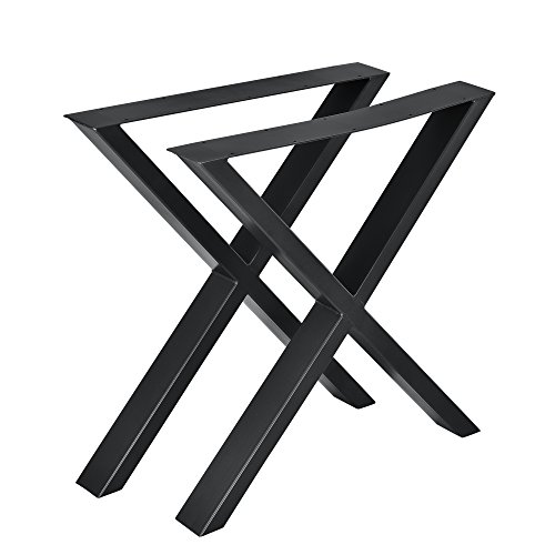 [en.casa] Set de 2 Pieds de Table Pied de Meuble Métal Forme X Pied de Table à Manger Noir 69 x 72 cm avec Protecteur de Sol et Accessoires de Montage