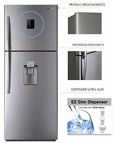 Frigorifero Daewoo FN655NWSIT Doppia porta-475lt-inox-Cl A+ - Drink Dispenser