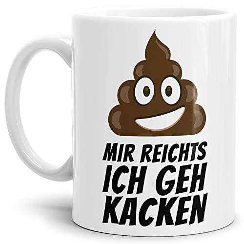 Tassendruck Tasse -Kackhaufen- mit Spruch: Mir Reichts Ich GEH Kacken - Weiss -/Smiley/Shit/Kacke/Lustig/Witzig/Spaßig/Mug/Cup/Beste Qualität - 25 Jahre Erfahrung
