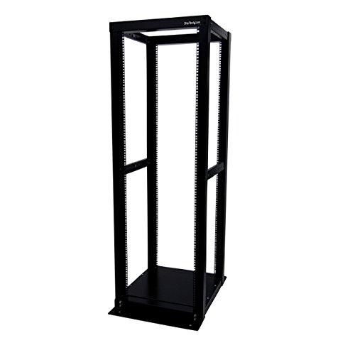 "StarTech.com 36U Heavy Duty Open Frame Server Rack - 1000lbs Weight Capacity - 4 Post Adjustable Depth (18.3"" to 39.2"") Network Equipment Rack (4POSTRACK36) Black"