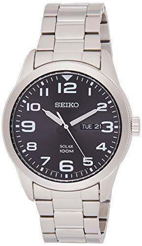 Seiko Herren Analog Solar Uhr mit Edelstahl Armband SNE471P1