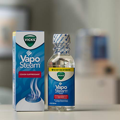 Vicks VapoSteam Medicated Liquid with Camphor, a Cough Suppressant, 8 Oz – VapoSteam Liquid Helps Relieve Coughing, for Use in Vicks Vaporizers and Humidifiers
