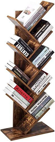 Gunolye Estantería de pie con 8 niveles, estantería de madera para libros, estantería de árbol, para salón, casa, oficina, para CD, películas, libros, vintage, marrón oscuro