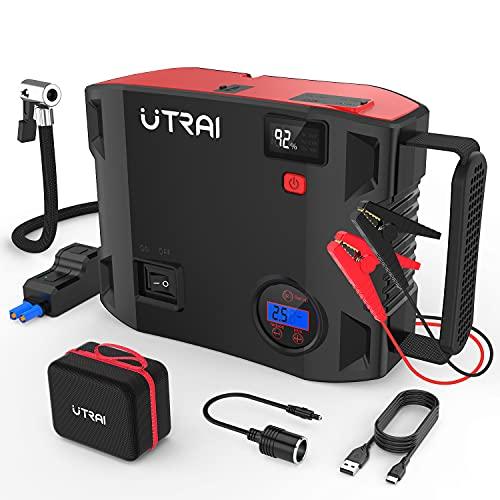 UTRAI Jstar 5 Avviatore di Emergenza 4 in1 Pompa Aria Auto 150PSI 24000mah Jump Starter Avviatore Batteria 2000A (per Motori 12V Diesel 7.5L e Benzina 8.0L) QC3.0,Doppia USB, Torcia a LED (JS 5-IT)