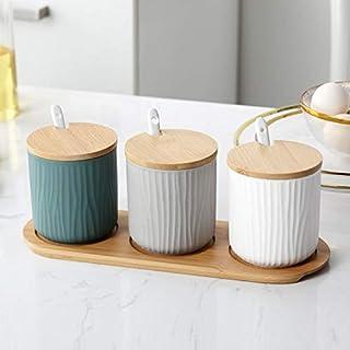 PPuujia Lot de 3 pots à épices nordiques en céramique avec couvercle en bois pour la cuisine, le sucre, le thé, le café et...