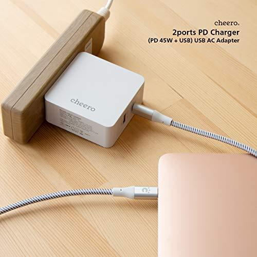 cheero2portPDChargerUSB-CPD45W+USB-A合計57W(パワーデリバリー対応充電器小型アダプタ)対応機種へ超高速充電AUTO-IC搭載折り畳み式プラグ2ポートCHE-328