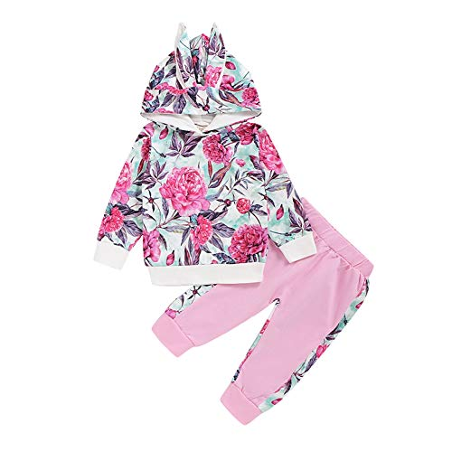 Gyratedream baby meisje set, bloemenprint lange mouwen konijntje oor hoodie sweatshirt blouse tops + broek vrijetijdskostuum herfst, 0-24M Medium roze