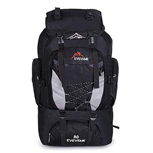 80L grande impermeable escalada senderismo mochila camping alpinismo mochila deporte al aire libre mochila, Black (Negro) - yuery-MMAGVI
