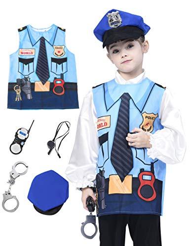 IKALI Disfraz de Astronauta Infantil,Clásico Abrigos espaciales El Juego de aparentar Equipo con Accesorios (5piezas) 4-6años