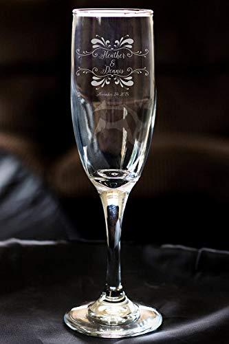 DKISEE bruidsmeisje champagne fluiten, bruidsmeisje bruiloft gunsten, gepersonaliseerde namen bruiloft toast fluit, cadeau voor haar, 8 Ounce Toasting bril, cadeau voor bruiloft, verjaardag 8 Ounce Cf014