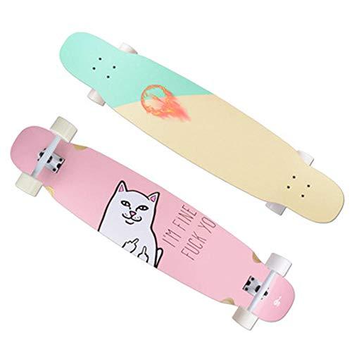 YSCYLY Skateboard Vintage,Professionelles Tanzbrett 117 * 24cm,FüR Kinder Jungendliche Und Erwachsene